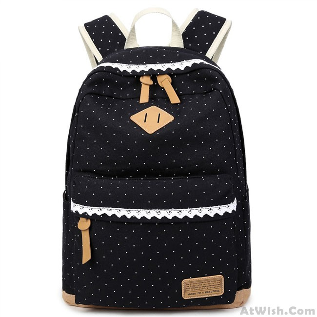 79298417aa Cute Lace Large Capacity Dot Travel Wave Point Girl s College Canvas  Backpack