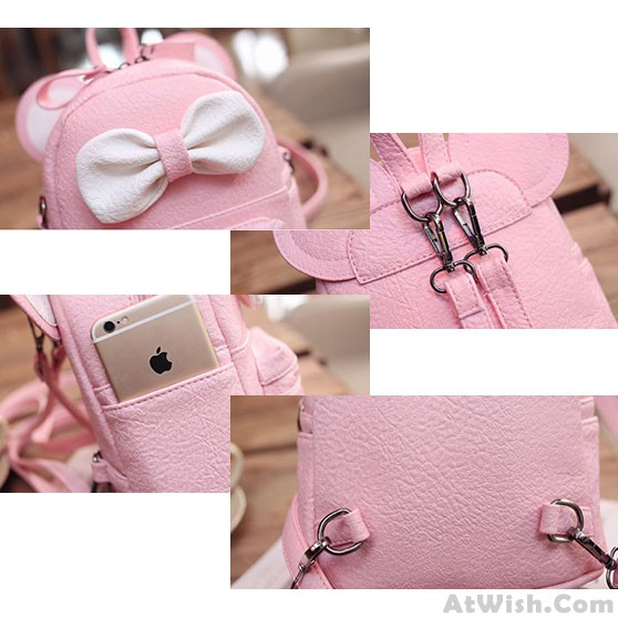 14313fe4a547 Cute Mini Bow Kitty Ears Small Cartoon School PU Backpacks · Zoom. prev