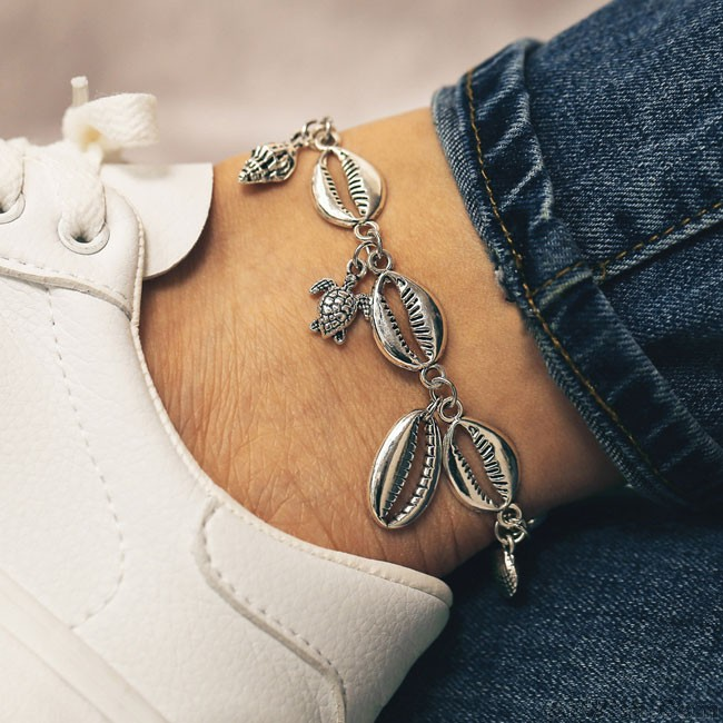 Cute Foot Accessory Beach Metal Shell Starfish Conch Anklet Foot