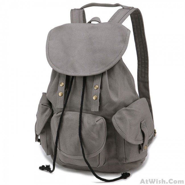 Leisure Three Pockets High School Bag Student Travel Canvas Backpack ... 0c9f8d6247080