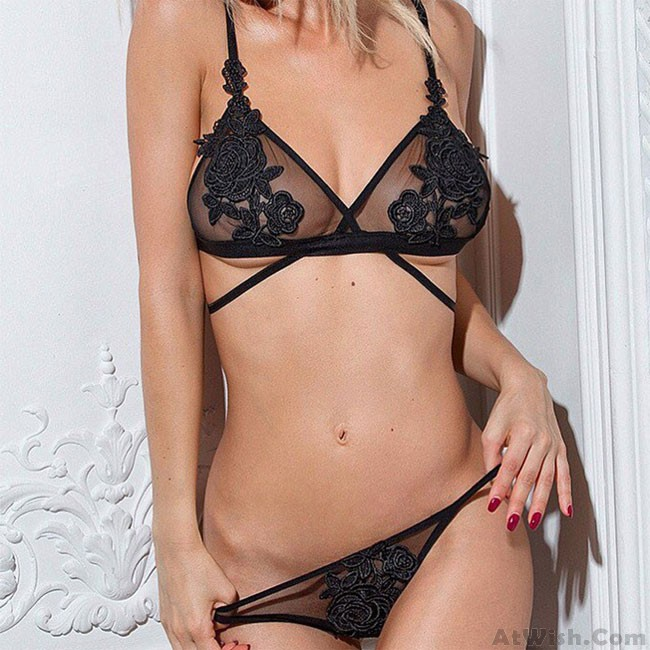 31be7645fdbc7 Sexy Embroidery Flower Perspective Bra Set Black Mesh Rose Women Lingerie