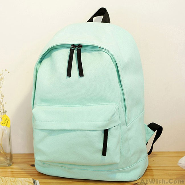 Fresh Pure Color Solid Rucksack School Bag For Girl Canvas Backpacks ... f93967e781
