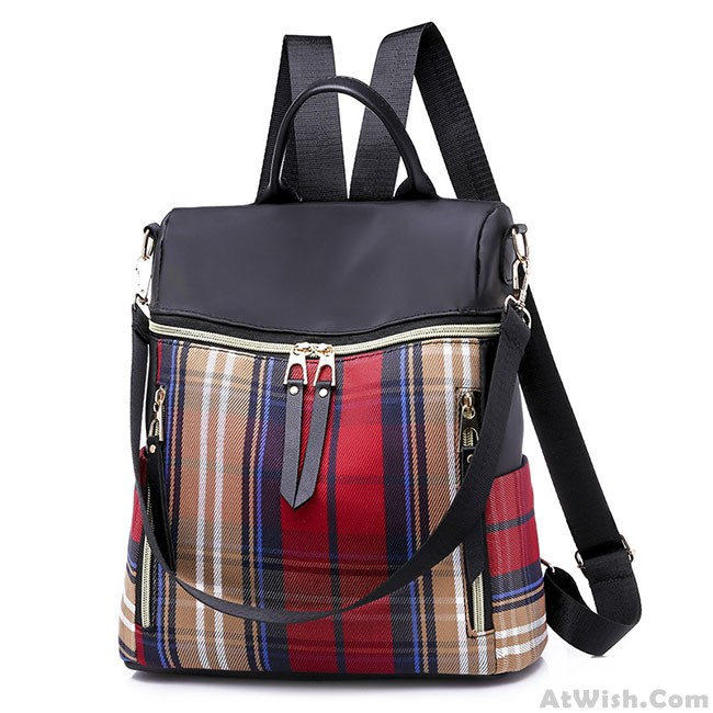 Leisure Plaid School Bag Leisure Contrast Color Multi-function Canvas  Backpack 34e022aa27f69