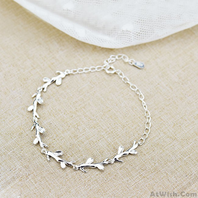 Creative Forest Style Leaves Branch Silver Bracelet Lover Gift Accessories Women Only 23 99 Atwish