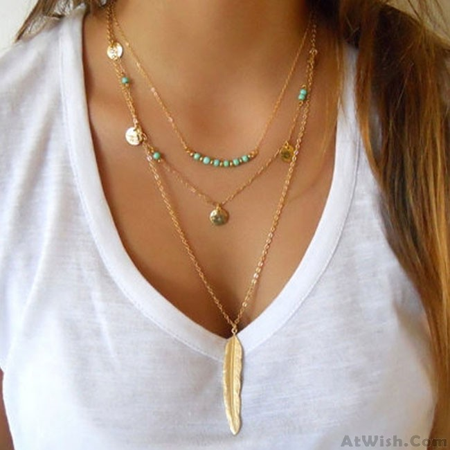 9b753f42d Fashion Multilayer Leaves Feather Y-Necklaces Trendy Tassels Turquoise Women  Necklace