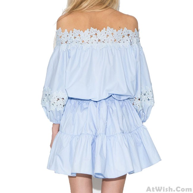 Sweet Light Blue Lace Strapless Low Cut Casual Dress ...