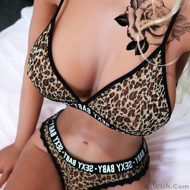 767ed6824d Sexy Leopard Underwear Bikini Sexy Baby Letter Lace Intimate Large Women  Lingerie