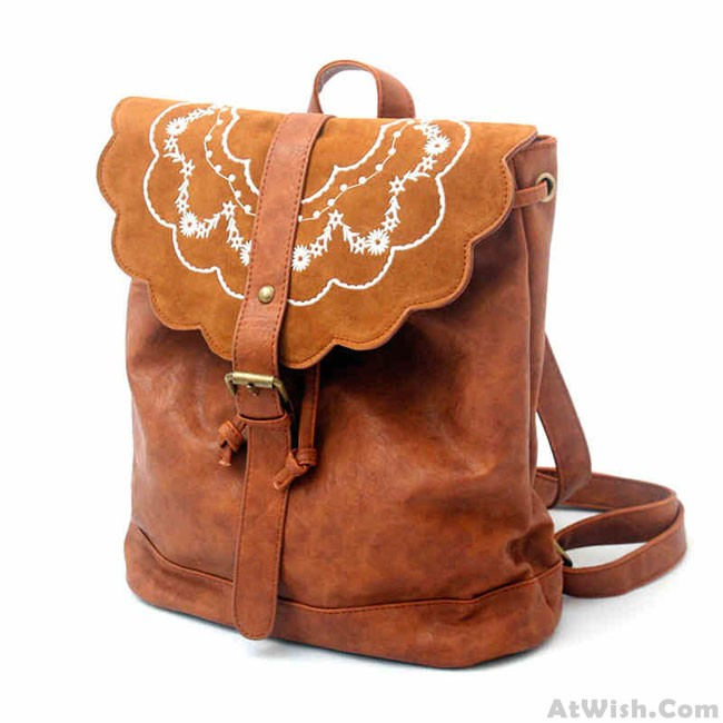 Chinese Ethnic Embroidered Backpack Flowers