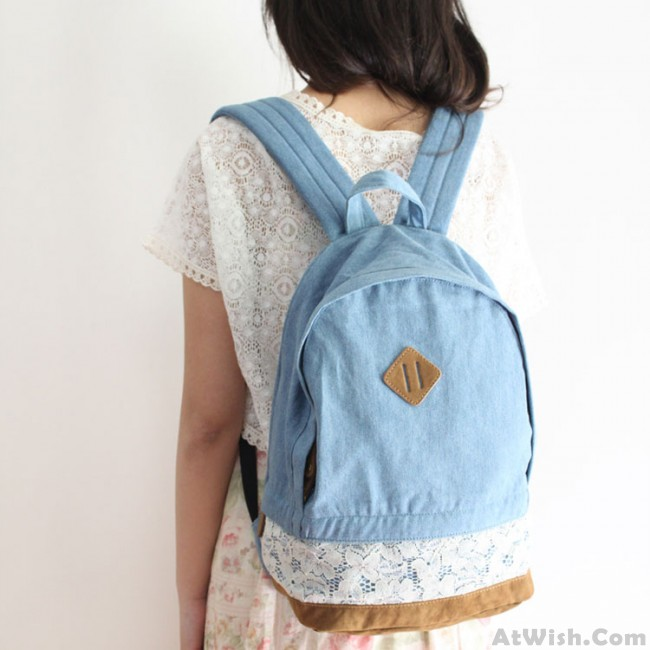 ca717ee55296 Fresh Denim Bow Lace Student Backpack
