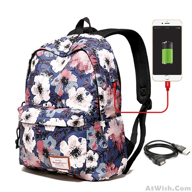 Unique Flower School Bag Large Fl Polyester Student Backpack Only 36 99 Atwish
