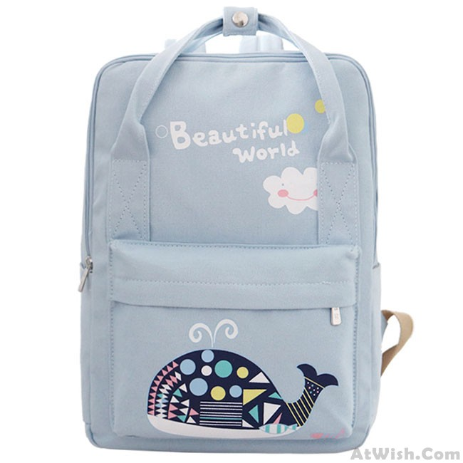 f8cd8673eb31 Beautiful World Cartoon Fresh Canvas Rucksack Whale Flower Printing School  Bag Backpack