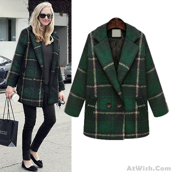 Retro Checked Wool Coat Middle Long Outwear