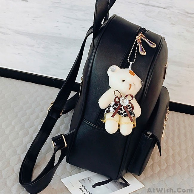 953601ff5 Cute Contrast Color College Bag Fresh Pink Stripe Button School Backpack ·  Zoom. prev