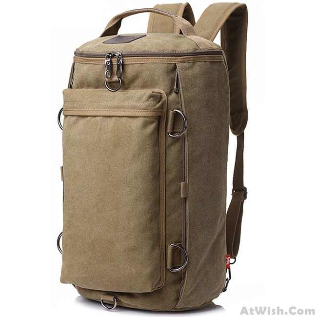 b915f9b28a6a Retro Multifunction Gym Shoulder Bag Canvas Camping Backpack Men Large  Bucket Travel Outdoor Rucksack