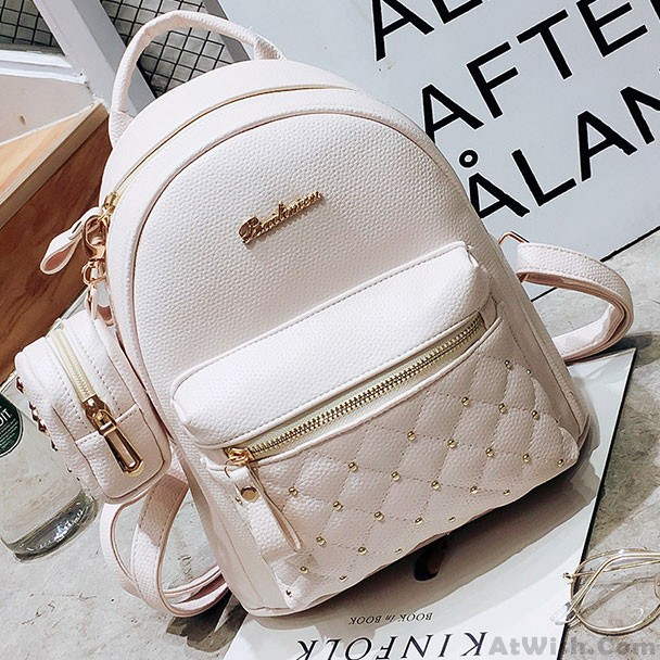 3c5c54ee172 Mini Black White Lady Bag Snap Rivets Mesh Lingge PU Backpack only $32.99  -AtWish.com
