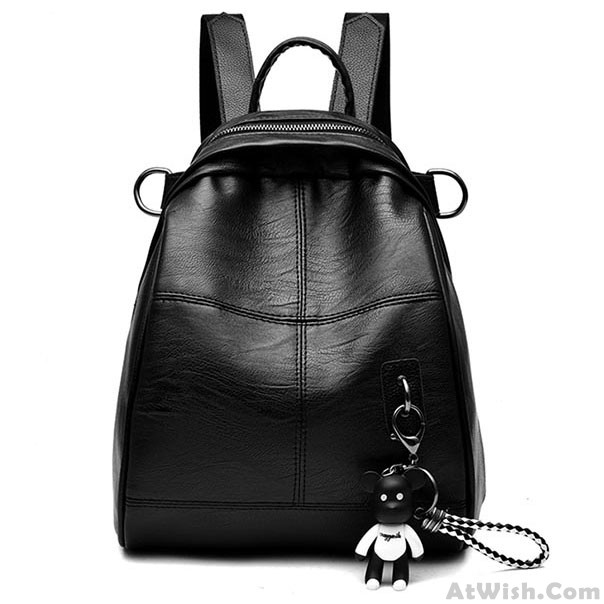 Fashion Black Waterproof Bucket Bag Simple School Backpack Girl s PU Travel  Backpack 55185c0aaccd4