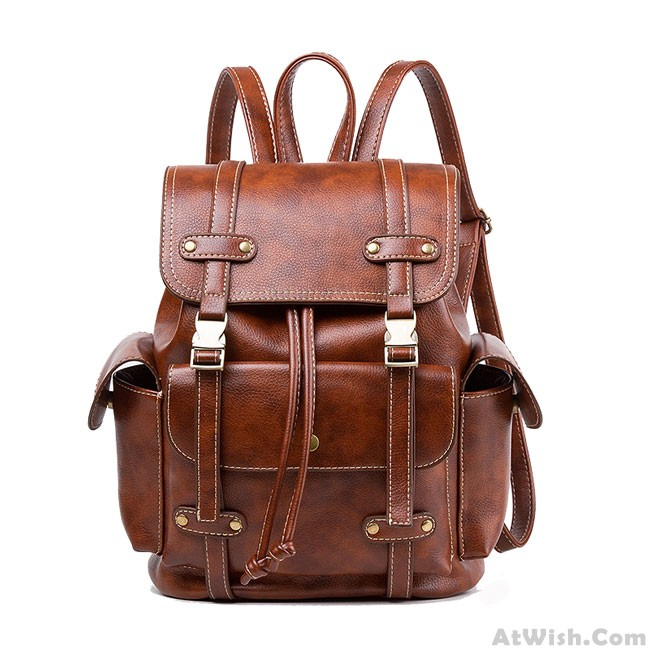 98a3afbe3bb Retro Brown England Style Three Pockets Two Belts School Bag Travel Backpack