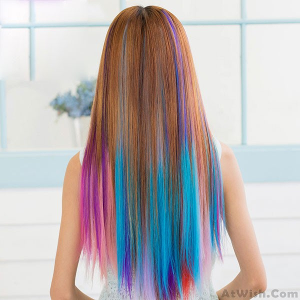 Fresh Many Colors Clip Hair Extensions Hair Wigs Womens
