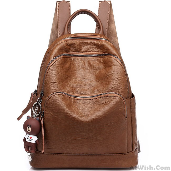 b5bbebaee2b1 Retro Three Zippers College Bag British Style Leisure Brown School Backpack