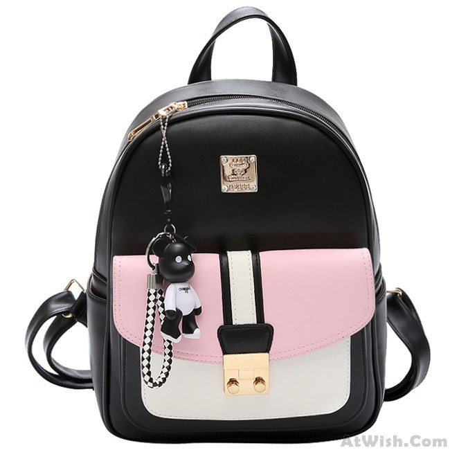 cbf52281c2 Leisure Black PU Contrast Color Girl s School Bag Small College Backpack