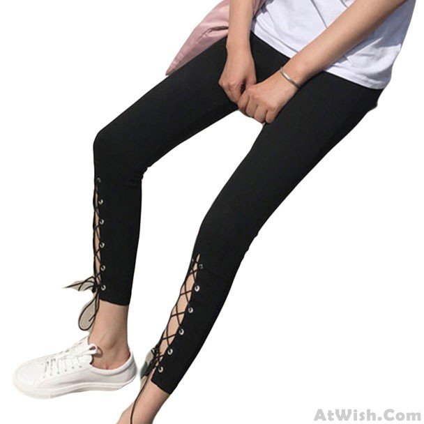 c809cd56f66cc Fashion High Slit Lace-up Front Cut Out Ninth Black Girl's Skinny Legging