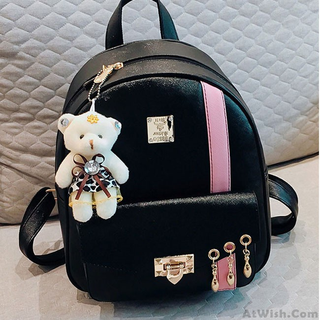 8443f94df Cute Contrast Color College Bag Fresh Pink Stripe Button School Backpack