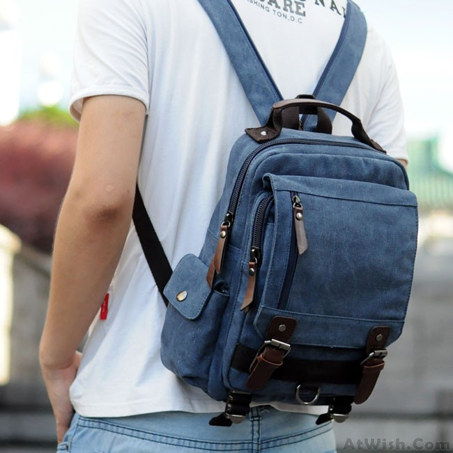 Unique Multi Zippers Square Multifunction Shoulder Bag Canvas College Boy S Backpack Only 39 99 Atwish