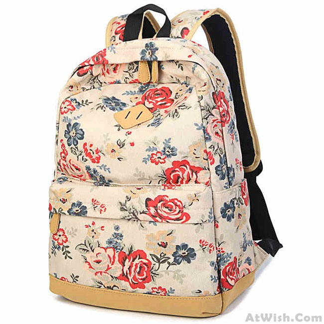 88d190dd4125 Sweet Girl s Canvas Large Travel Rucksack Rose Flowers Printing School  Backpack