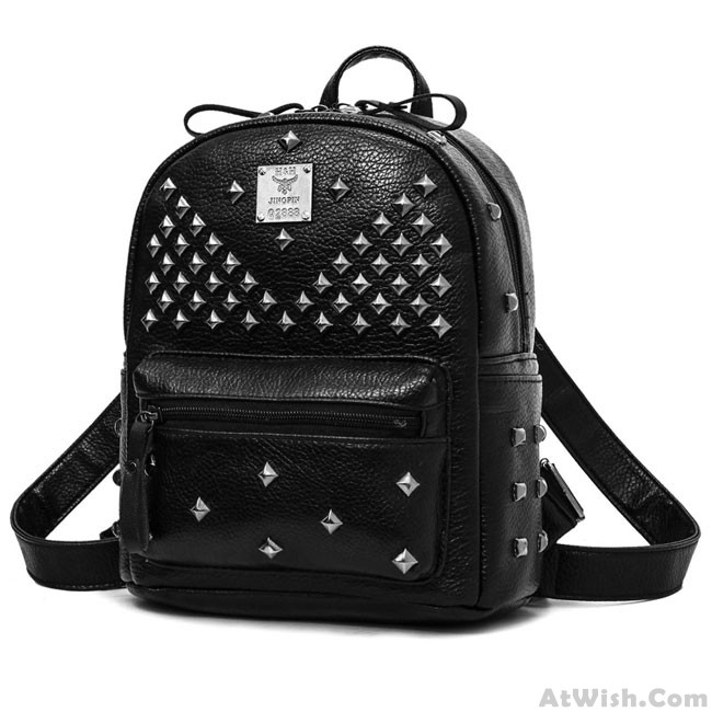 19c36cec9ec6 Punk PU Rivets Lichee Pattern School Bag Student Backpacks