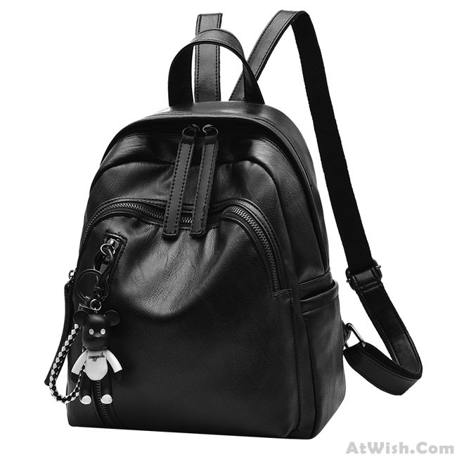 9f4bfde677 Simple Girl s Waterproof PU Black Bucket Bag Double Zipper Leather Travel  Backpack School Backpack
