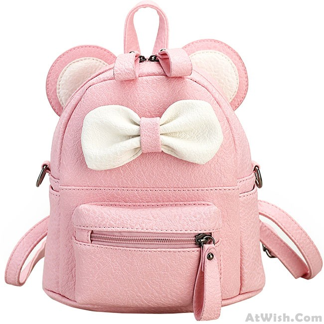Cute Mini Bow Kitty Ears Small Cartoon School PU Backpacks ...