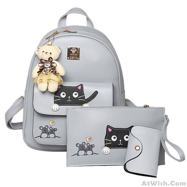 17993cc54fab Cute Pink Mouse Splicing Cat Cartoon School Student Bag Gift Bear Doll PU  Kitty Backpack · Zoom. prev