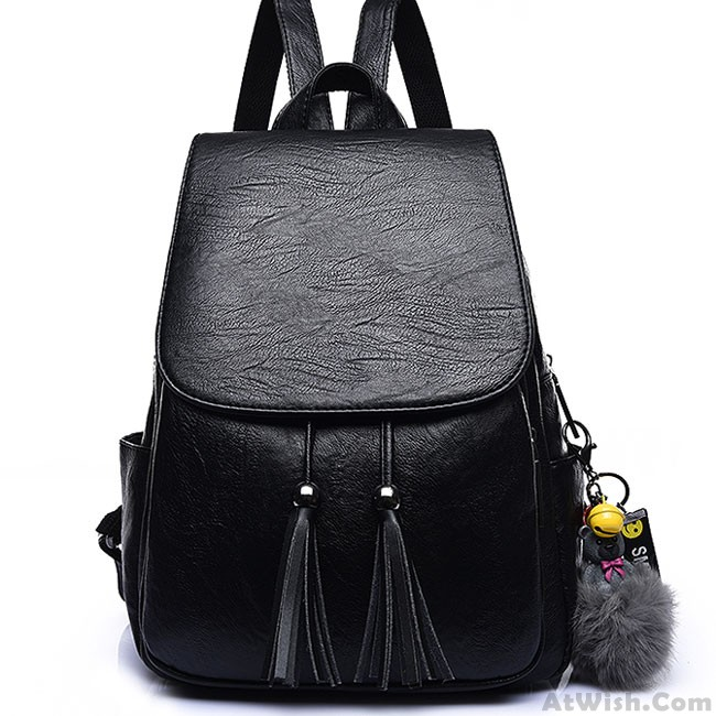 Leisure Tassel Simple Brown PU School Bag Simple British Style College  Backpack 255554a7a8cd8