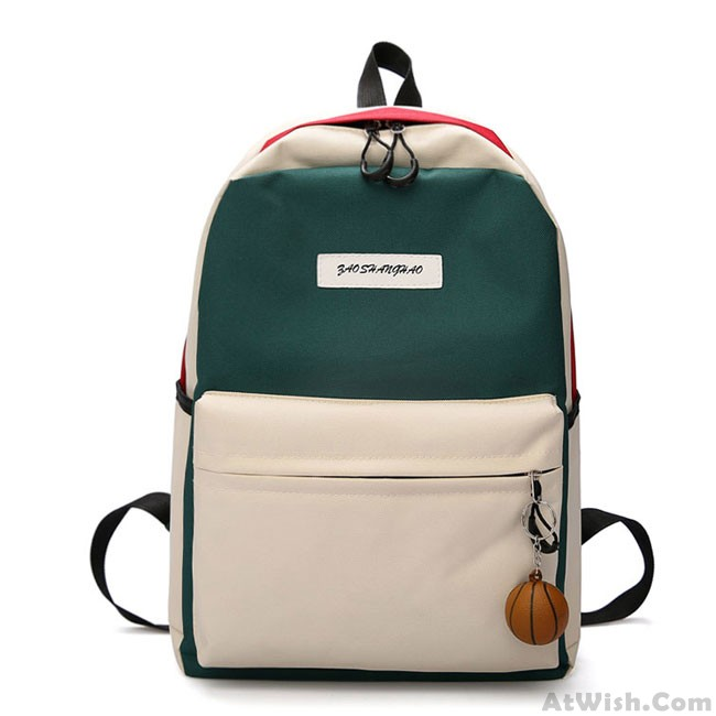 Cute Contrast Color High School Rucksack Student Bag Large Canvas Backpack  only $27 99 -AtWish com