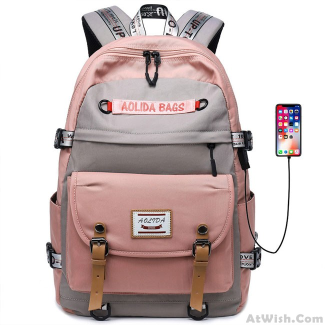64167f9c8f5a New Student Contrast Stitching Bag USB School Backpack Large Capacity  Computer Backpack only $37.99 -AtWish.com