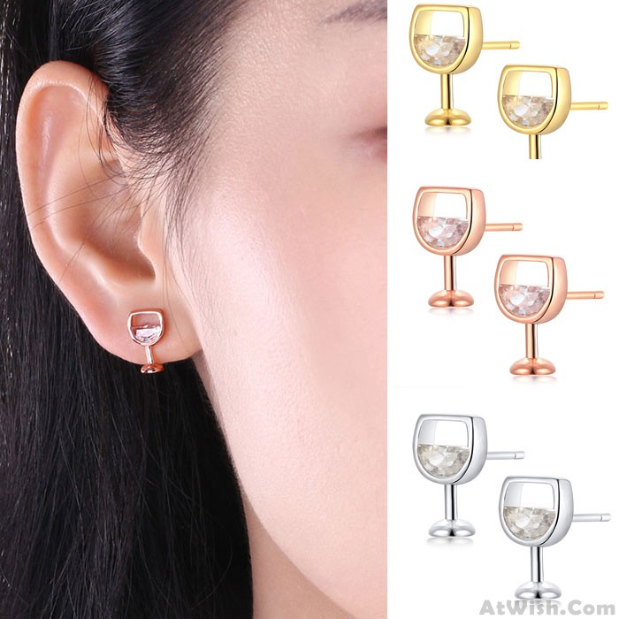 Cute Red Wine Glass Cup Crystal Alloy Shaped Earrings Studs