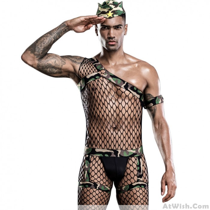 Sexy Men's Camouflage Hollow Out Fishnet Bodysuit Cosplay Outfits Bodystocking Singlet Leotard Lingerie