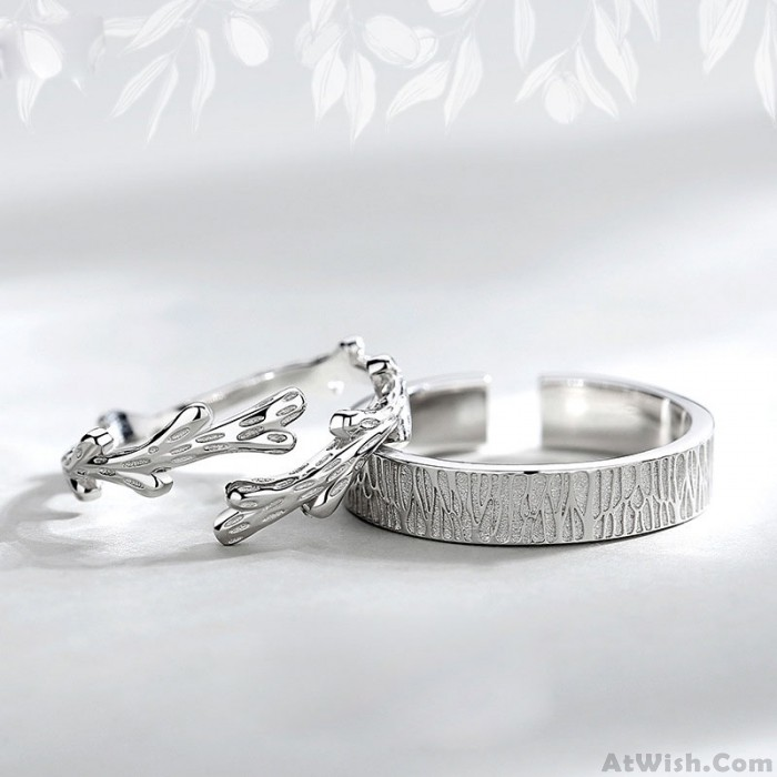 Fashion Trunk Tree Vine Silver Open Couple Rings Lover Romantic Gift Wedding Ring