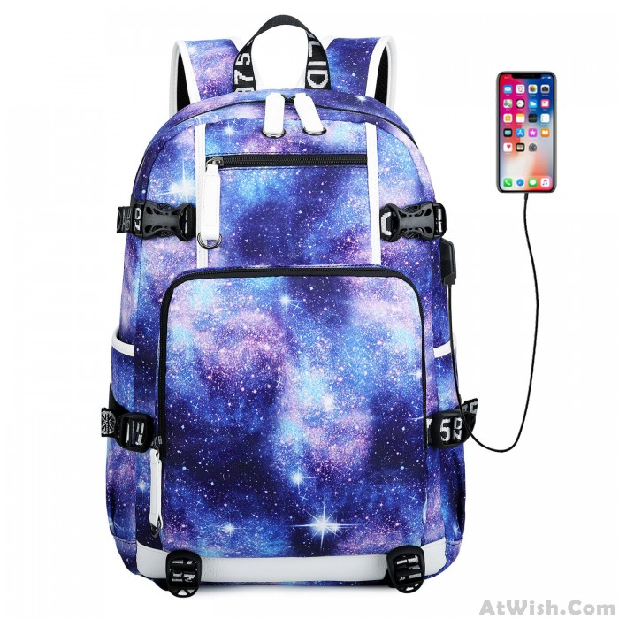 Cool Galaxy High School Bag Starry Sky Space Waterproof Large Oxford Nebula Travel Backpack