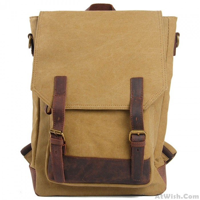 Retro Cowhide Leather Splicing Canvas Travel Backpack Leisure Large Capacity School Rucksack