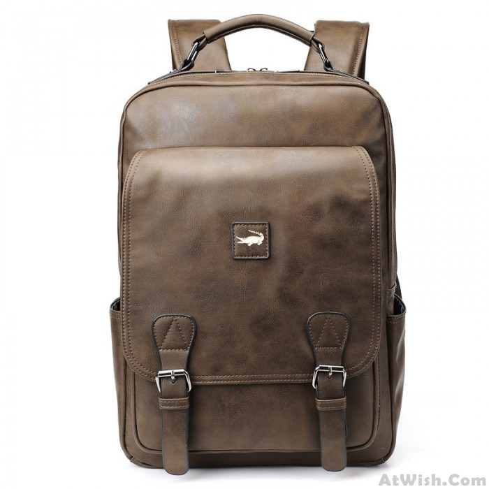 Retro Business Double Buckle Men's School Bag Crocodile Youth Travel Large-capacity Student Backpack Laptop Backpack