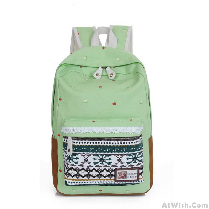 Folk Lace Printing Leisure College Backpacks