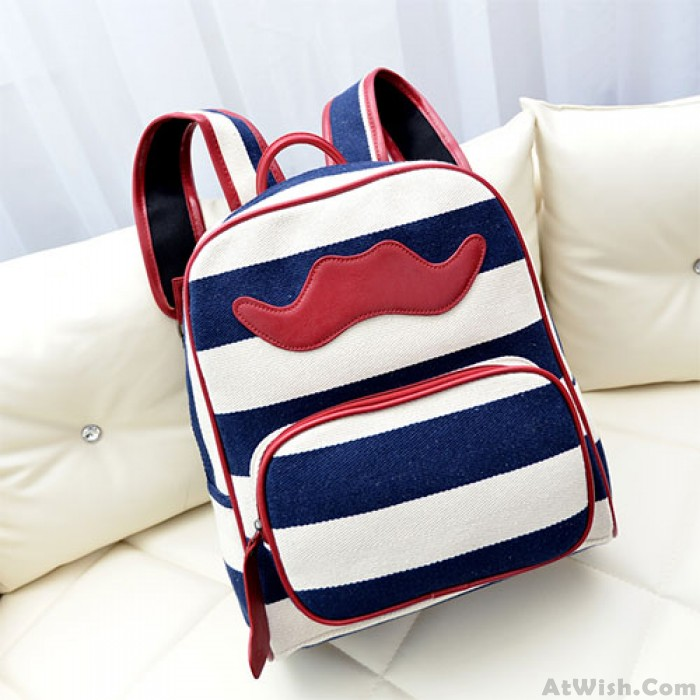 Leisure Striped With Mustache Canvas Backpack