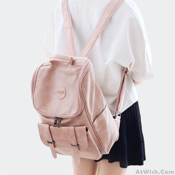 Leisure Double Buckle Girl Large Soft PU High School Bag Student Backpack
