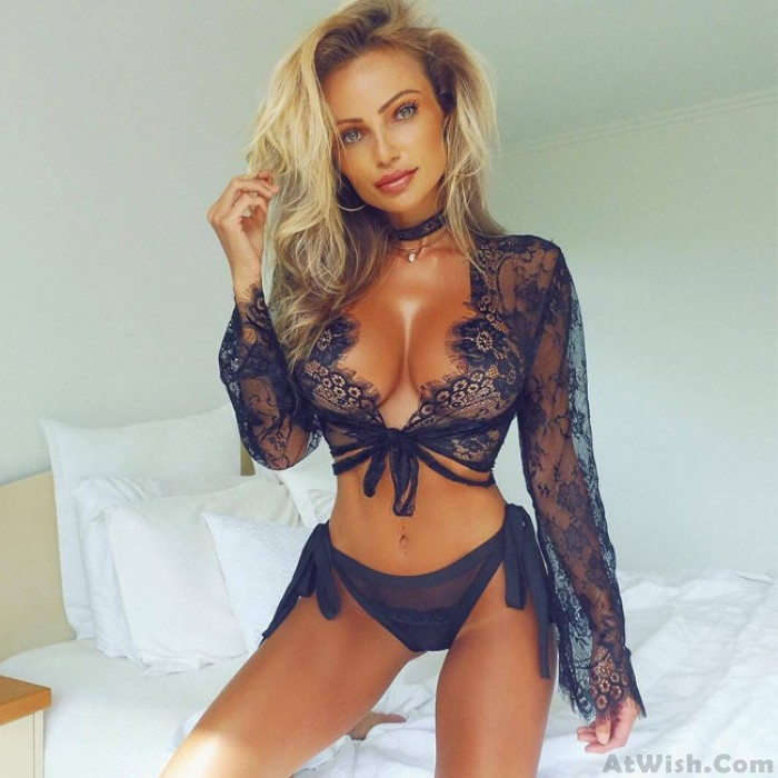 Sexy Hollow Mesh Tops Eyelash Lace Long-Sleeved Pajamas Intimate Lingerie