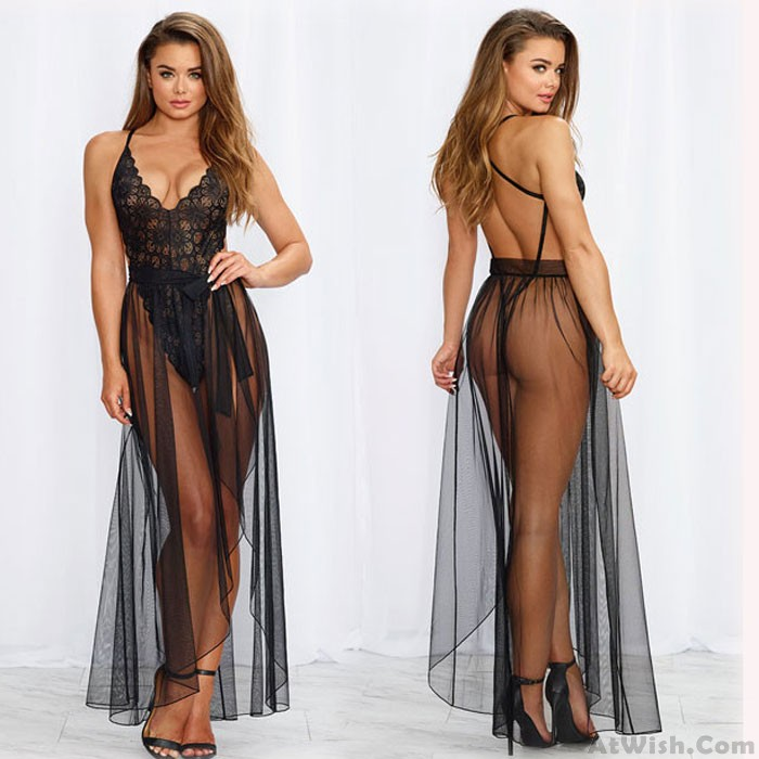 Sexy One-piece Mesh Gown Lace Pajamas Long Nightdress Intimate Lingerie