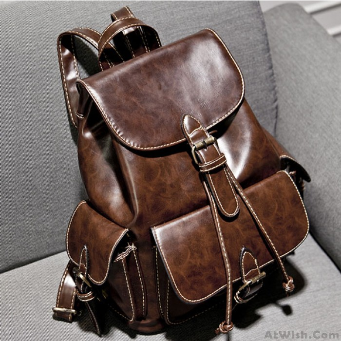 Retro Buckles Leather Student Bag Backpacks