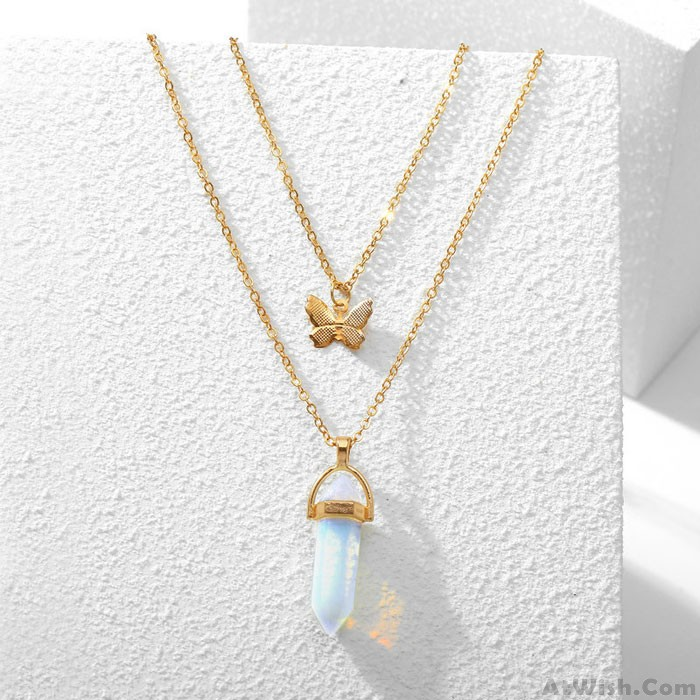 Retro Crystal Stone Butterfly Pendant Double Layer Women's Necklace