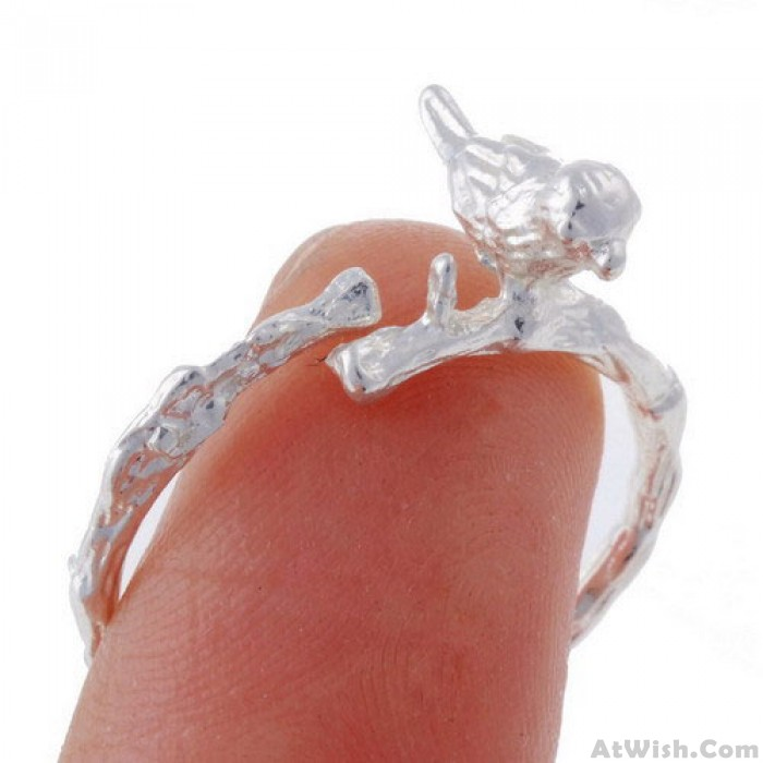 Exquisite Birds Branches Alloy Opening Rings