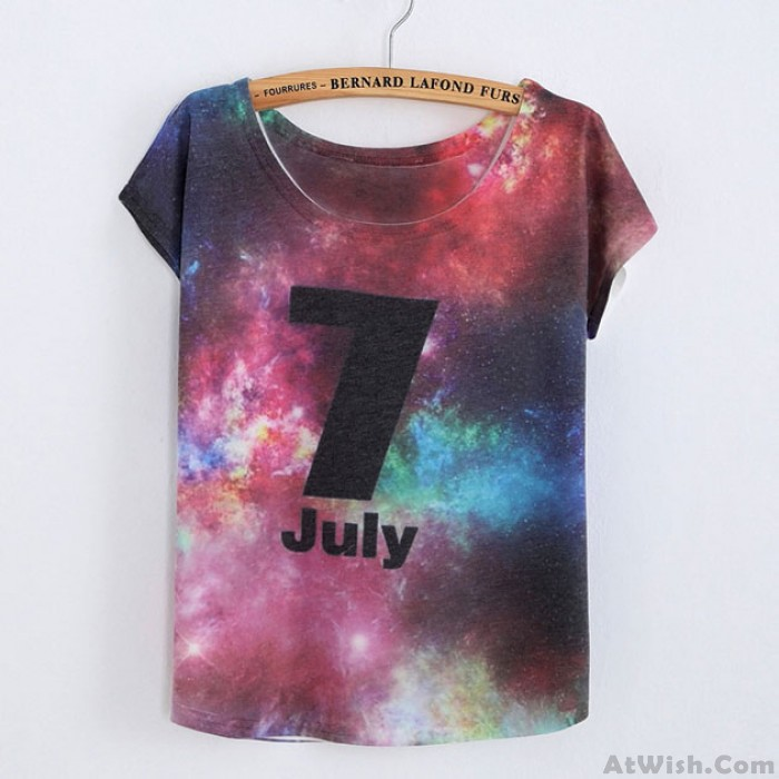Outer Space Printed July T-Shirt